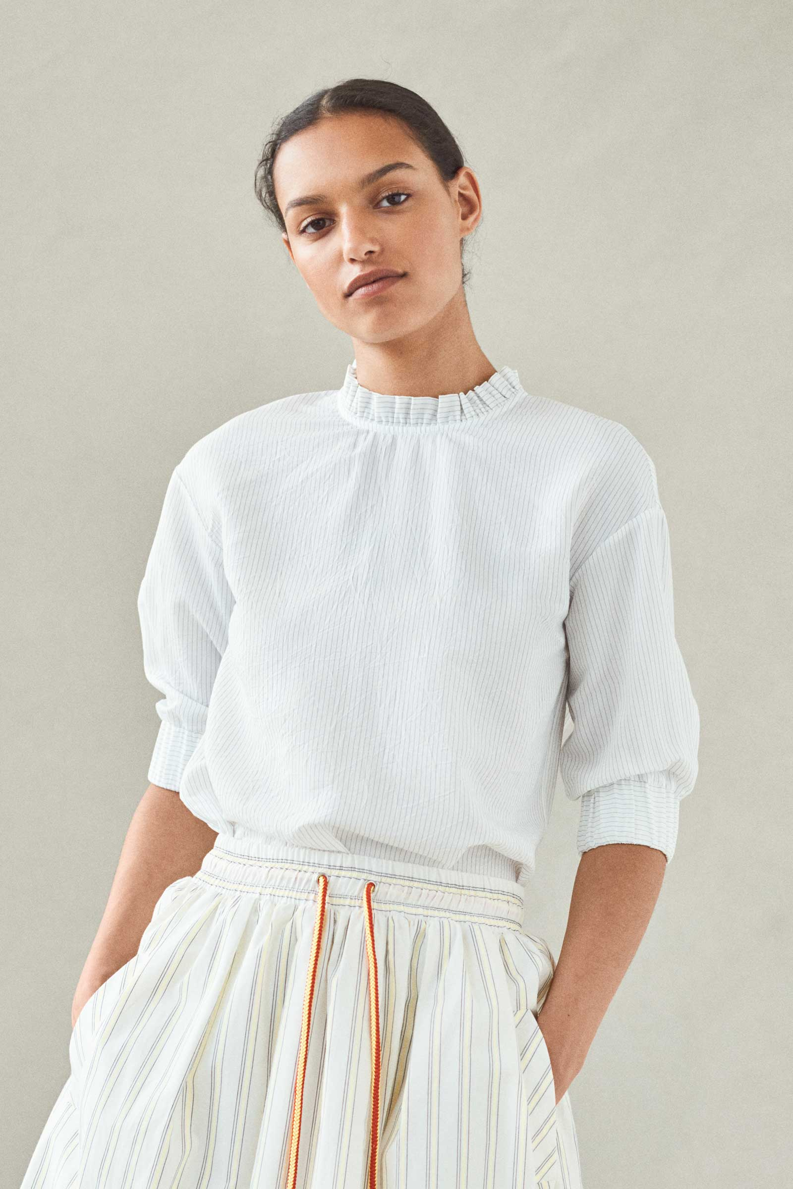 MEADOW Striped Ruffle Collar Top