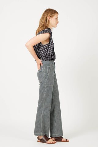 FORTUNE Stripe Wide-Leg Cotton Trousers