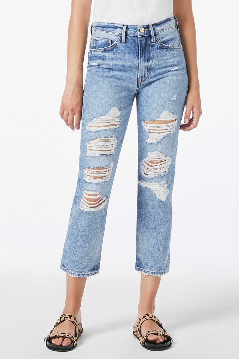 LE PIPER Ripped Straight-Leg Jeans