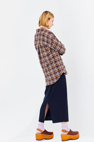 Washed Twill Cotton Long Skirt