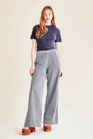 Gingham High-Waist Wide-Leg Poplin Trousers