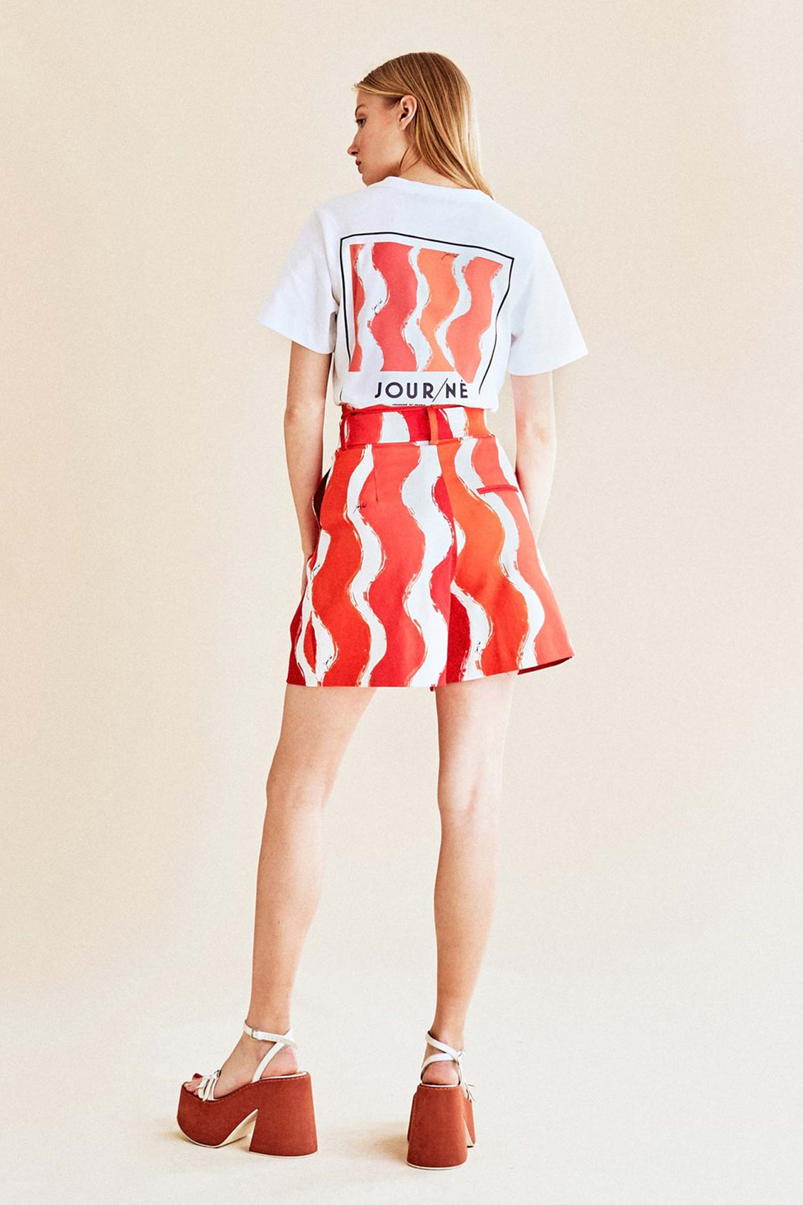Wave Print Workwear Cotton Shorts