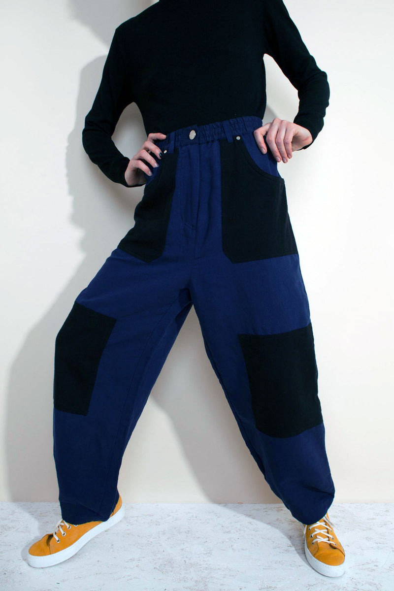 JAVIER Patchwork Wide-Leg Tapered Trouser