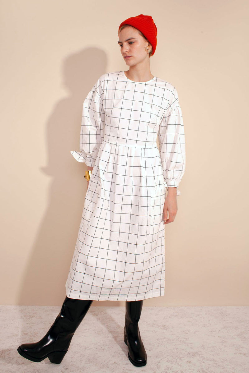 JOE Windowpane Cotton Midi-Dress
