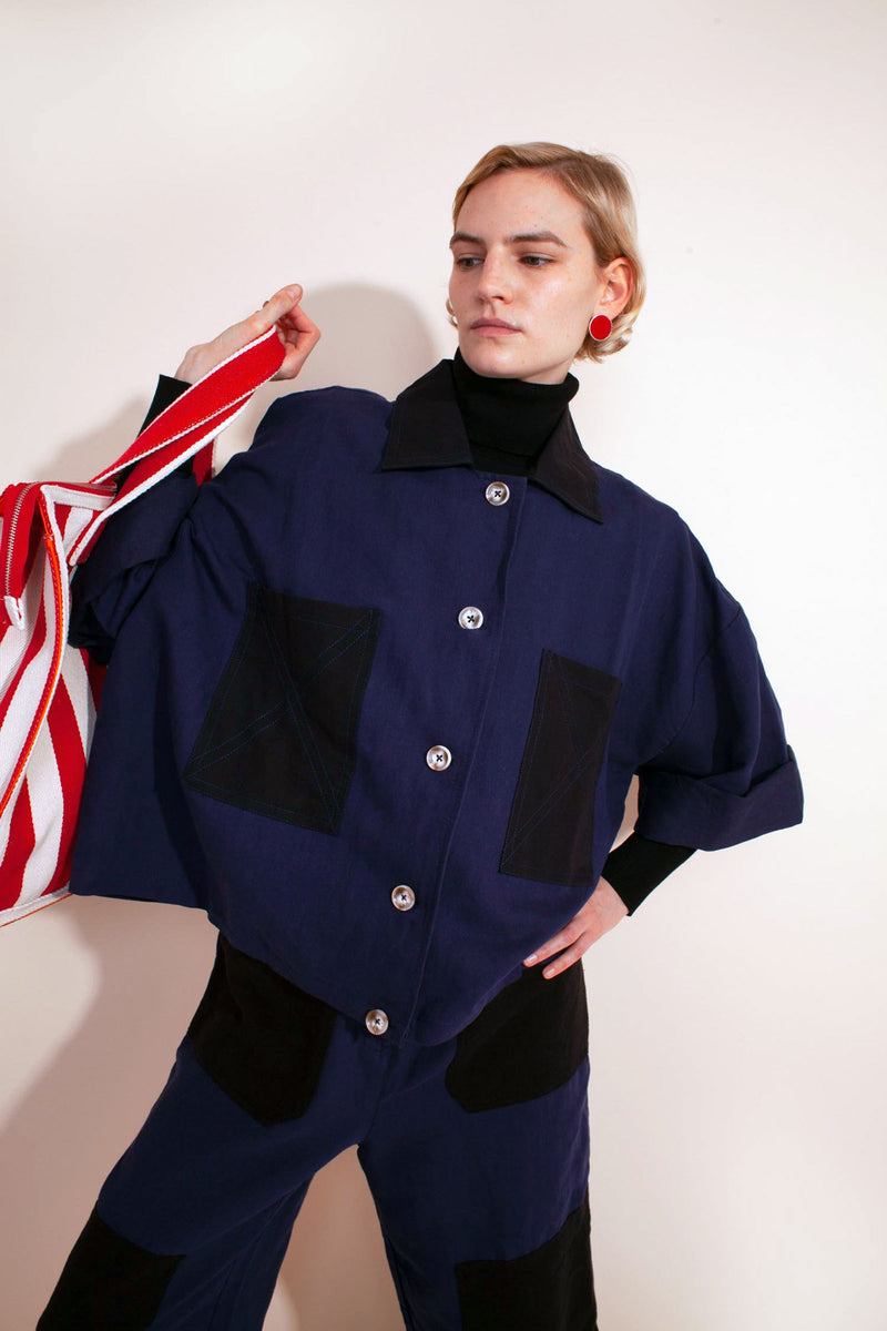 ROGER Patch Pockets Wide-Cut Jacket