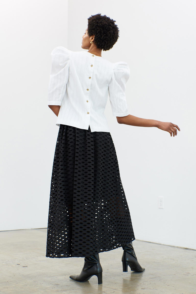 CECELIA Eyelet Cotton Midi-Skirt