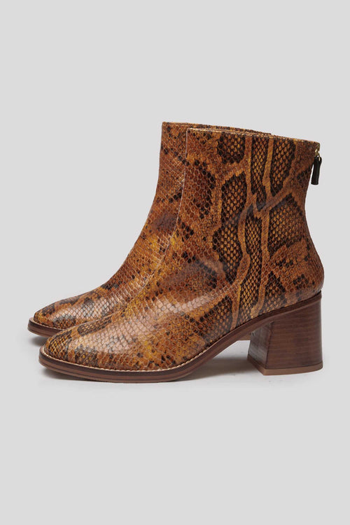 CYBIL Snake-Embossed Leather Boots