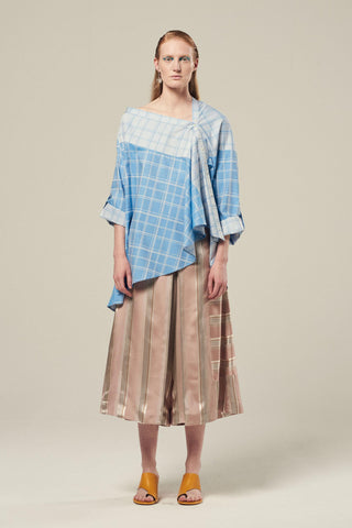 TRIANGLE Check Cotton Poplin Asymmetric Shirt