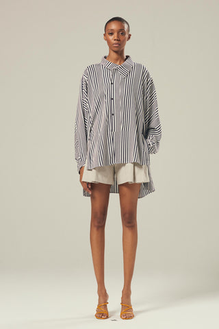 MIAD Asymmetric Striped Oversized Shirt