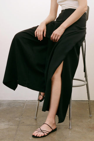 TULIA Twill Wrapping Wide-Leg Pants