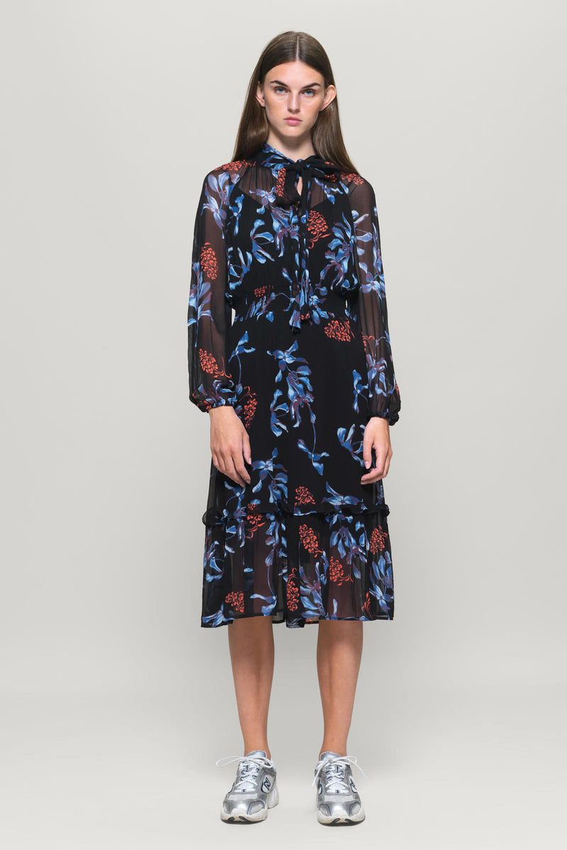 AELEIS Floral Printed Crepe Chiffon Dress