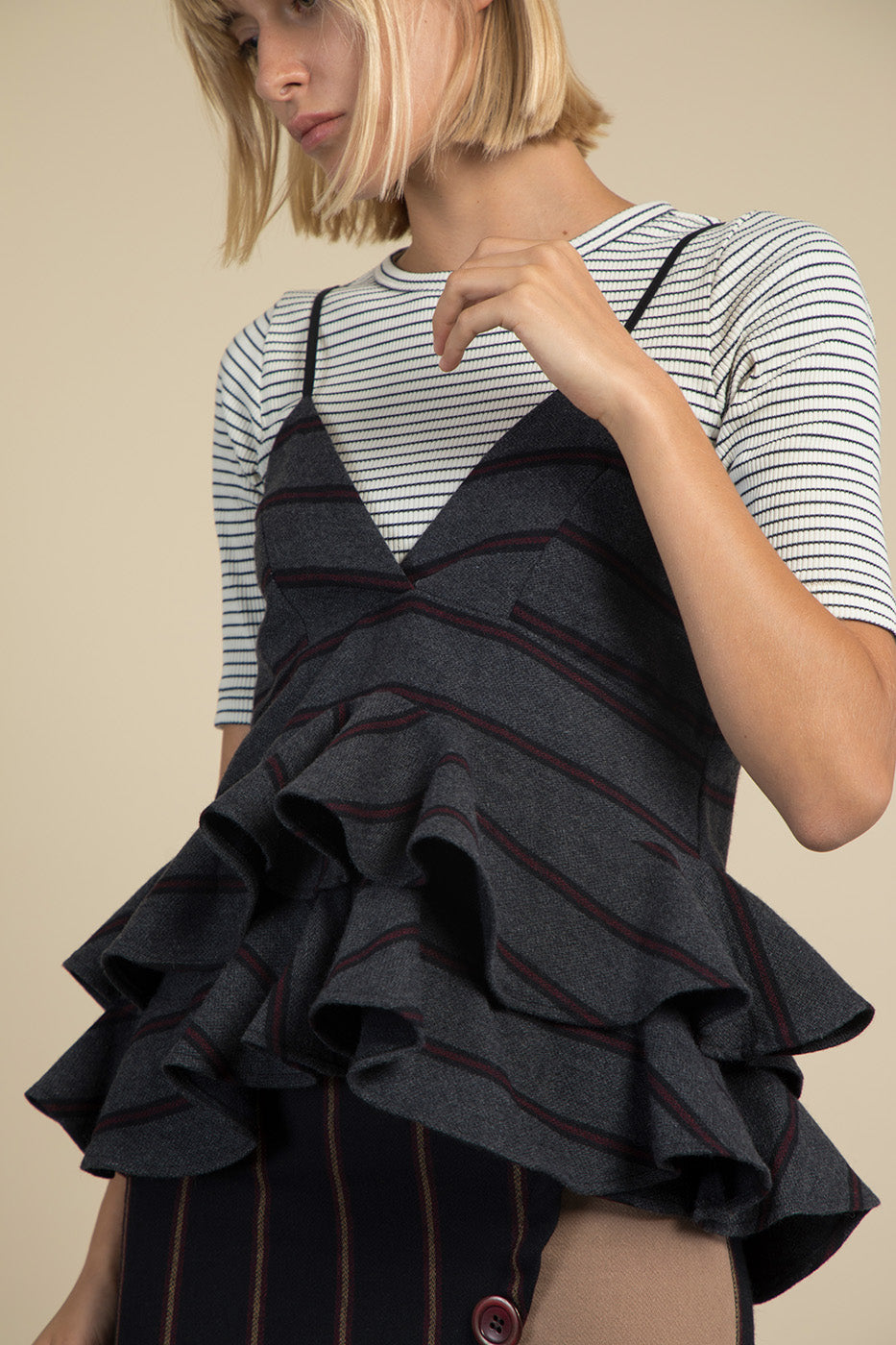 Striped Ruffle Wool Top