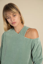 Asymmetric Cutout Velvet Top