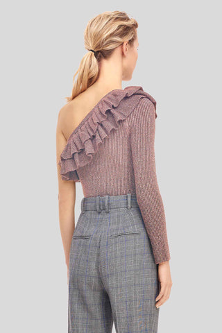One-Shoulder Lurex Ruffle Pullover