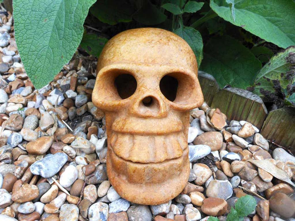Ancient Golden Tan Jade Skull 7""