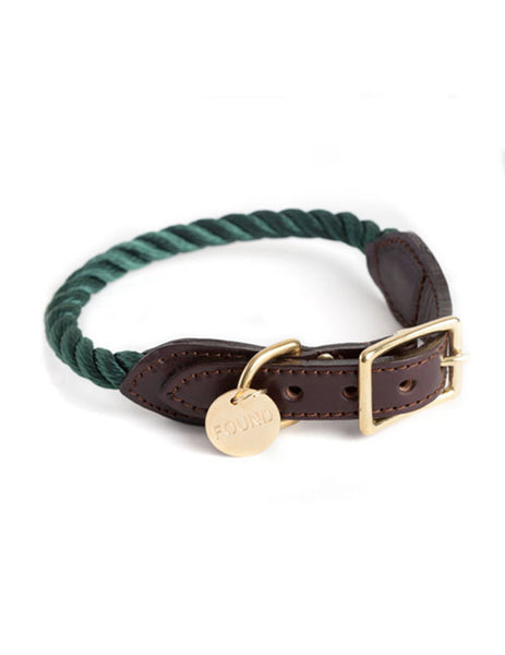 Hunter Green Rope & Leather Dog and Cat Collar