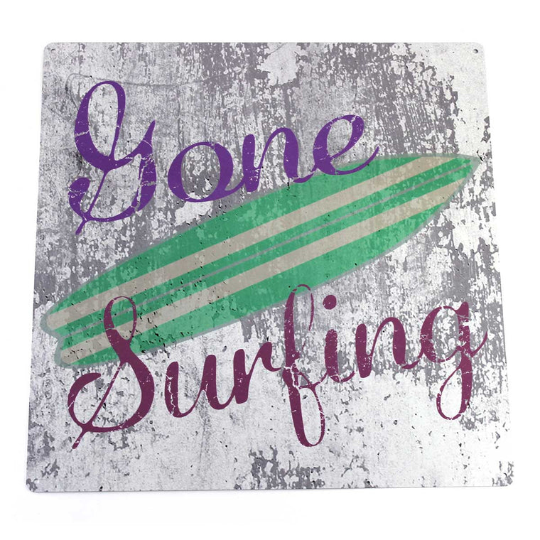 Gone Surfing Metal Sign