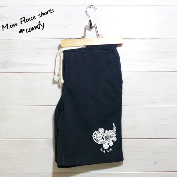 Mens Navy Hippie Logo Fleece Shorts