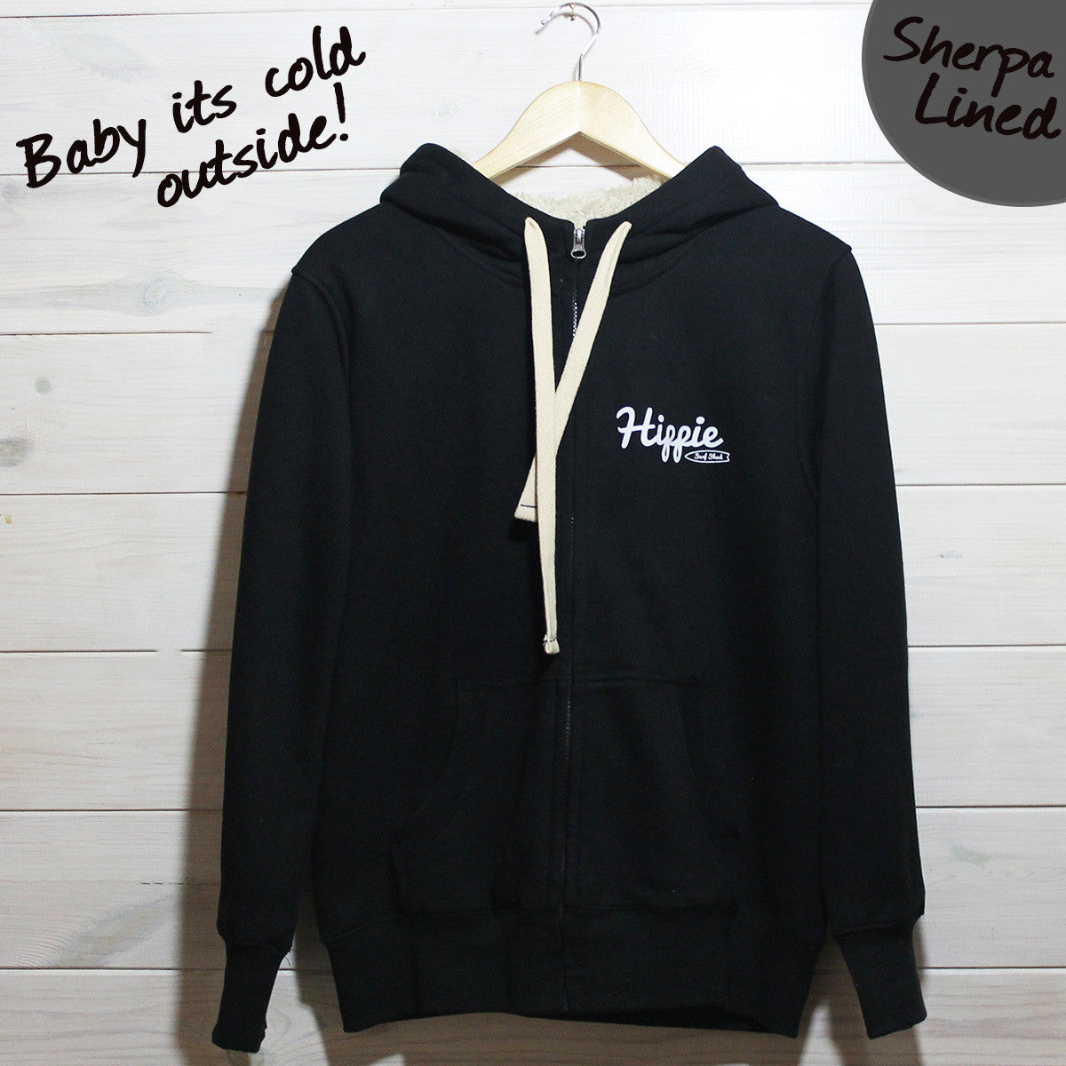 Hippie Surf Logo Sherpa Lined Zip Up Hoodie