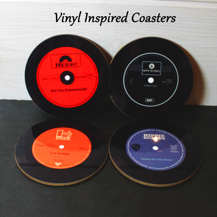'Hippie Records' Vinyl Inspired Drink Coasters