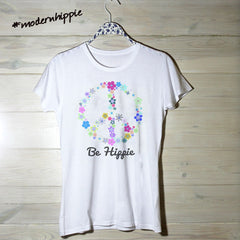 Womens Floral Peace & Be Hippie Tee