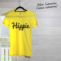 Womens Yellow Hippie Logo Basic Tee