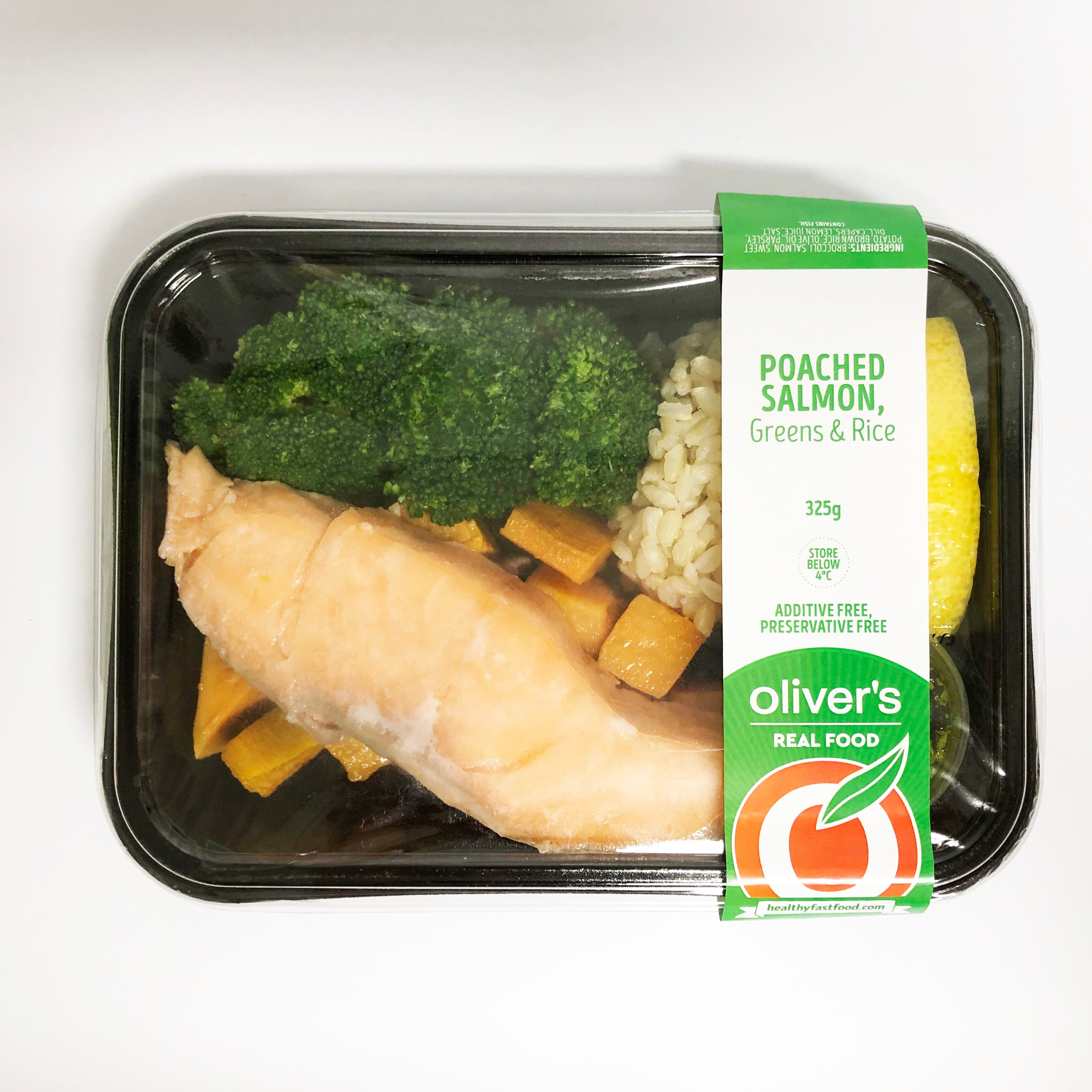 Poached Salmon Greens + Rice 300g (1 Unit)