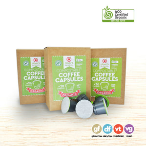 Coffee Capsules - Organic Biodegradable - 60 Pods