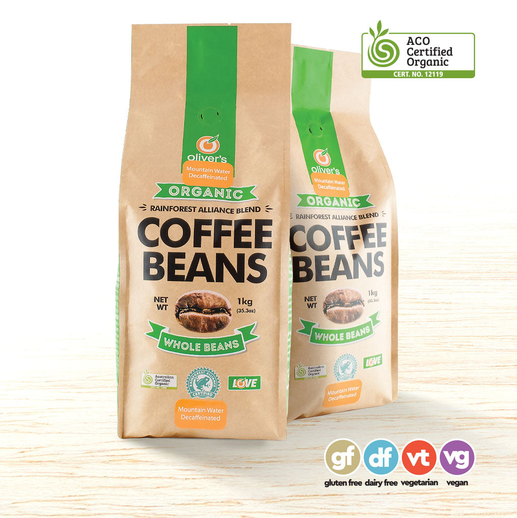 Oliver's Organic Decaffeinated Coffee Beans - Organic Food Delivered - Oliver's Real Food