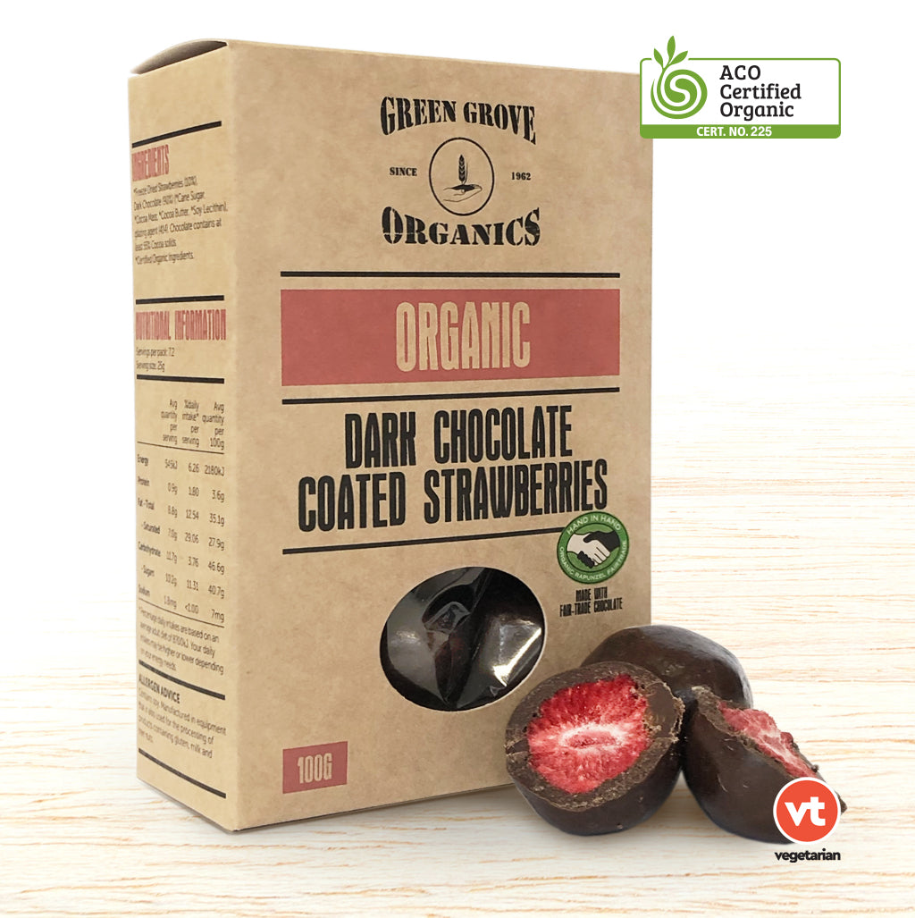 Chocolate - Organic Dark Chocolate Strawberries
