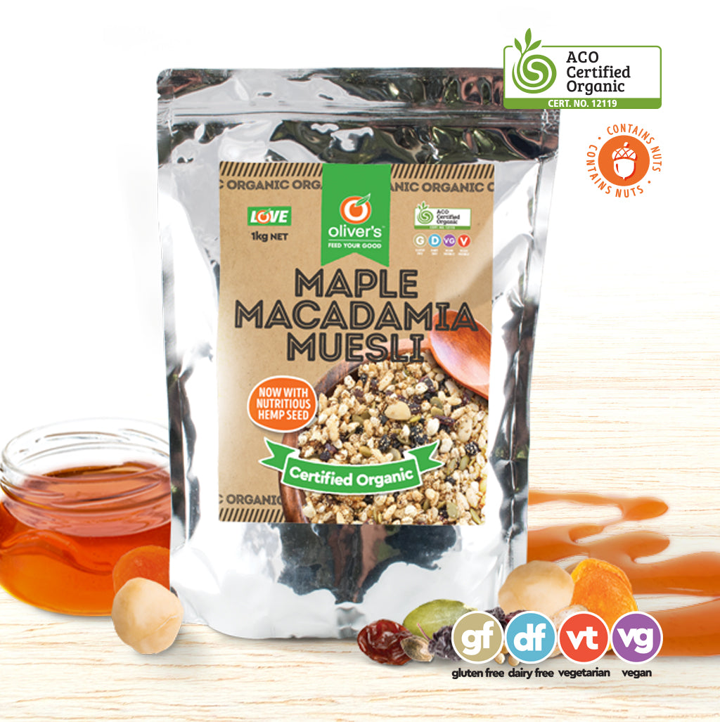 Oliver's Organic Maple Macadamia Muesli - Organic Food Delivered - Oliver's Real Food