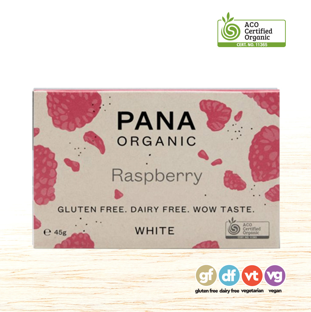 Pana Organic Raw Chocolate - White Chocolate & Raspberry