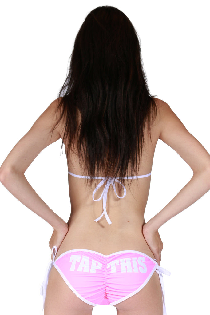 """TAP THIS"" Scrunch Bottom Padded String Bikini In Pink!"