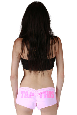 """TAP THIS"" Cotton Booty Shorts In Pink"