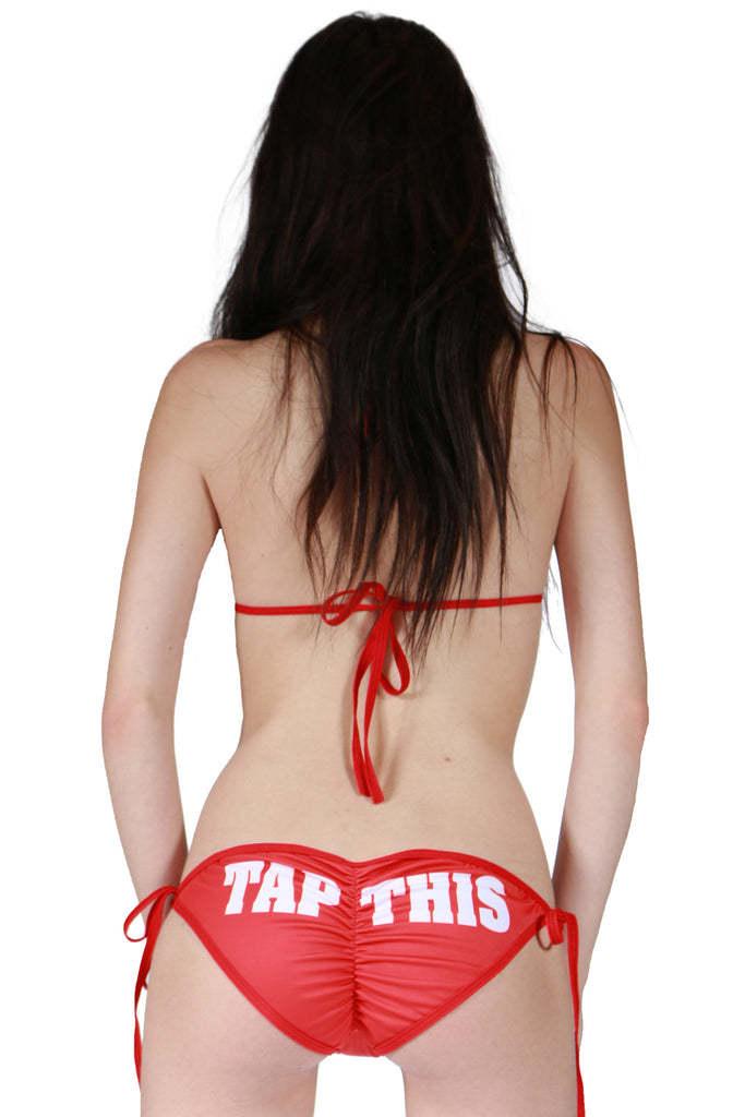 """TAP THIS"" Scrunch Bottom Padded String Bikini In Red!"