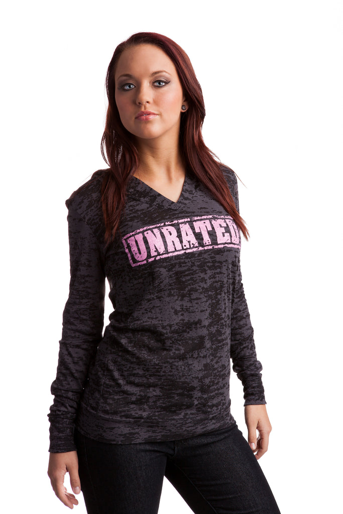 """UNRATED"" Burnout Hoodie Shirt In Charcoal!"
