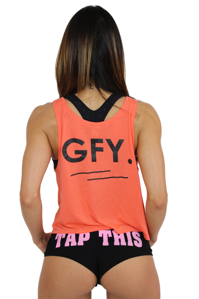 """GFY"" Boxy Tank In Coral"