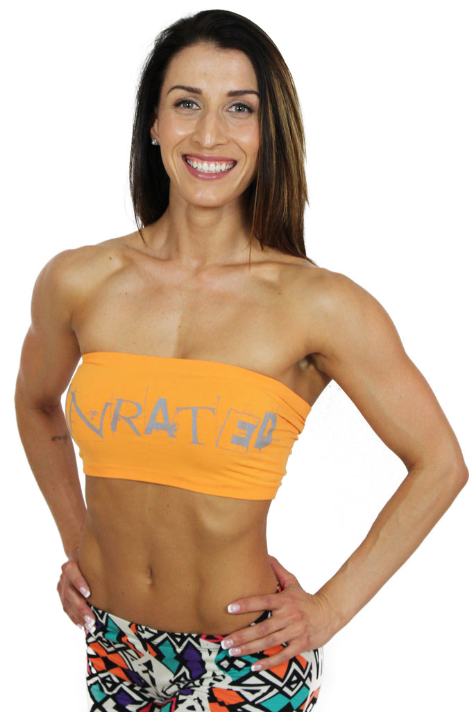 """UNRATED"" Graffiti Tube Top In Orange!"