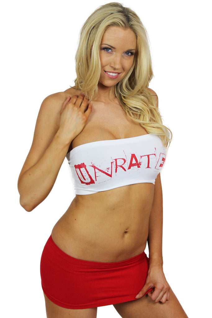"""UNRATED"" Graffiti Tube Top In White!"