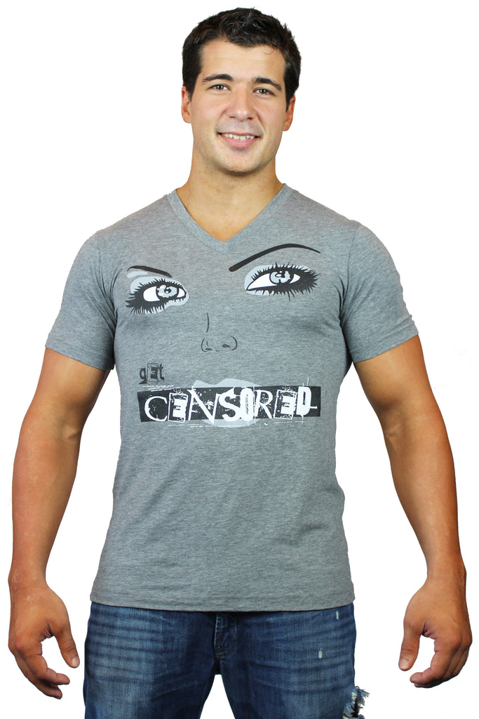 "Men's Tri Blend ""CENSORED"" Lip V Neck In Grey"