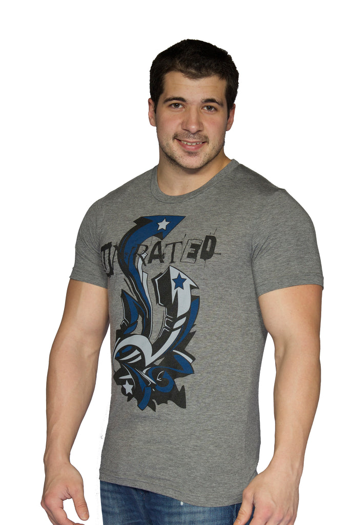 "Men's Tri Blend ""UNRATED"" Arrow T-Shirt In Grey"