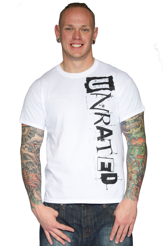 "Men's ""UNRATED"" Sport T-Shirt In White!"