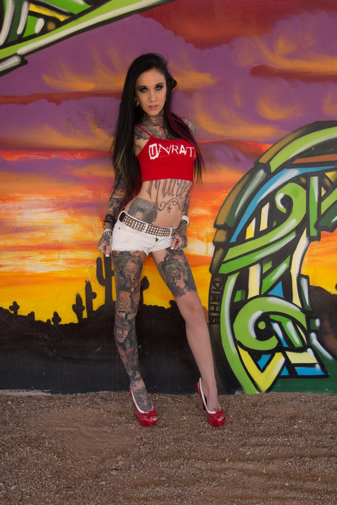 """UNRATED"" Graffiti String Tube Top In Red!"