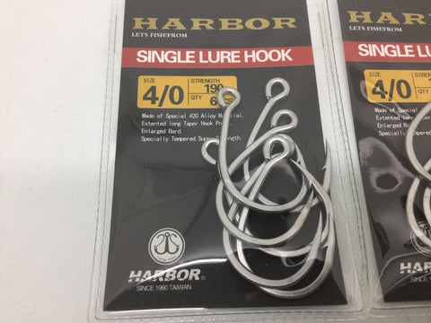 Hooks harbor Straight Eye 4/0 Replacements For Rapala Hardbodys 6 Inch
