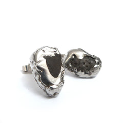 Silver Stud Earrings with Dark Grey Found Stones