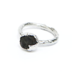 Silver Ring with Dark Grey Found Stone