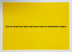 Let us wash our hair and stare stare at mountain ranges