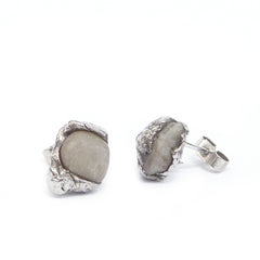 Silver Stud Earrings with Light Grey Found Stones