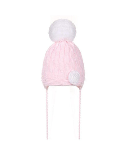 Knitted Pink Pearl Rose Hat-Hats-Children-Clothing-Cutsie Bobbs