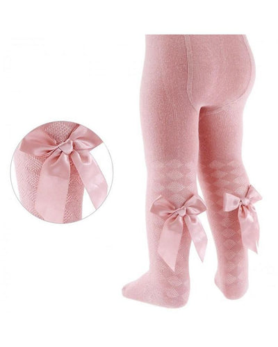 Soft Touch Dusty Pink Bow Tights-Tights-Children-Clothing-Cutsie Bobbs